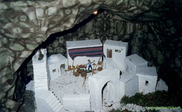 1994 presepe copertura in carta e manufatti in legno